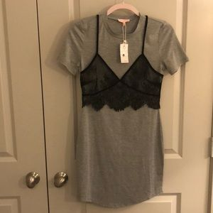 Grey T-shirt mini dress with lace bra overlay